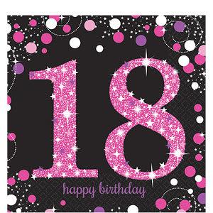 Spiksplinternieuw Sprankelende Roze 18e Verjaardag Lunch Servetten 16st - DecoImprove.nl KH-98