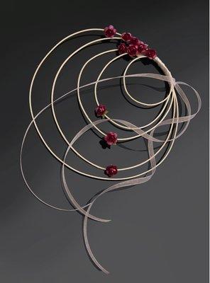 Rood Spiraal met Rozen Decoratie 4st
