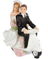 Bruidspaar op Scooter Taart Topper