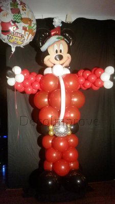 Mickey Mouse Kerstman Ballonnenpilaar