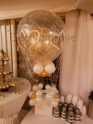 Oud Engels Luchtballon met Enveloppenkist Ballondecoratie