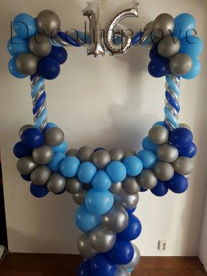 Blauw Sweet 16 Foto Frame Ballondecoratie 100x100cm