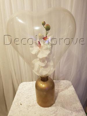 Orchidee in Hartballon met Gouden Vaas Tafeldecoratie