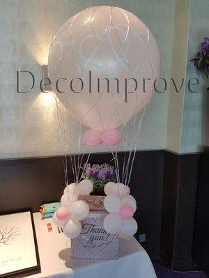 Licht Roze Verbonden Harten Luchtballon met Enveloppenkist Ballondecoratie