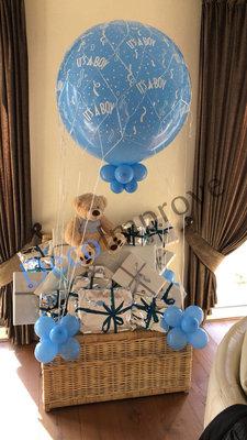 Luchtballon met Grote Mand en Teddybeer Ballondecoratie