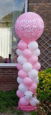 Ballonnenpilaar Standaard Roze Baby Meisje 220cm Clusters van 4