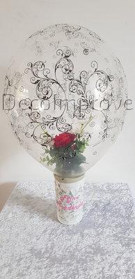 Roosje in Filigree Ballon met Vaas Tafeldecoratie