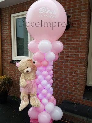 Roze Teddyberen met Persoonlijke Bedrukking Deluxe Ballonnenpilaar