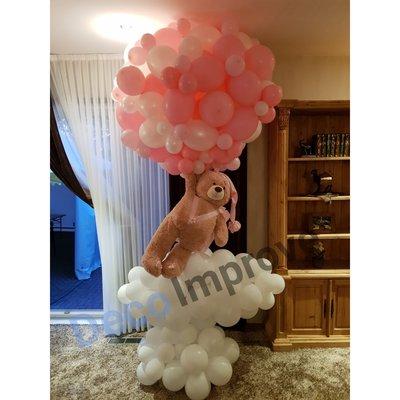 Luchtballon met Teddybeer en Wolk Ballondecoratie