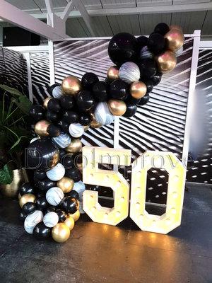 Organic Zwart Marmer Goud Driekwart Ballonnenboog