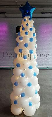 Kerstboom Wit Ballonnenpilaar met LEDverlichting