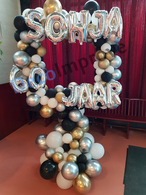 Organic Party Zwart, Wit en Goud Foto Frame Ballondecoratie 100x100cm
