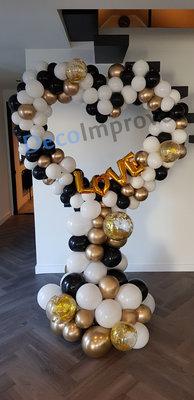 Organic Love Zwart, Wit en Goud Foto Frame Ballondecoratie Hartvorm