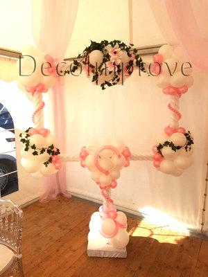 Licht Roze Cupido Foto Frame Ballondecoratie met Bloemen