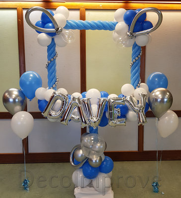 Baby Jongen Luxe Foto Frame Ballonnendecoratie 100x100cm