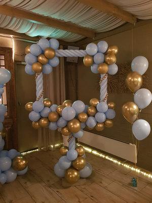 Blauw met Chroom Goud Foto Frame Ballondecoratie 100x100cm