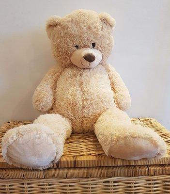 Teddybeer Zittend Knuffel Beige Zacht 100cm Verhuur