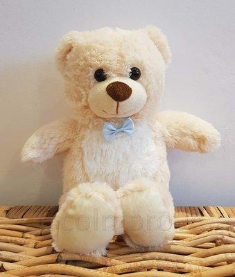 Teddybeer met Strik Zittend Knuffel Beige Zacht 30cm Verhuur