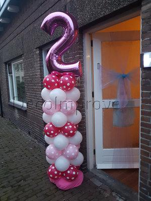 Ballonnenpilaar Standaard 2e Verjaardag Roze Polkadot 220cm Clusters van 4