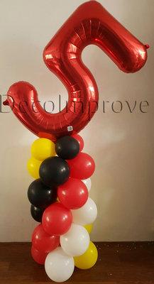 Ballonnenpilaar Standaard Regenboog 5e Verjaardag 175cm Clusters van 5