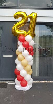 Ballonnenpilaar Standaard 21e Verjaardag Rood Goud 220cm Clusters van 4