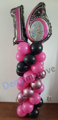 Ballonnenpilaar Standaard Hotpink Sweet Sixteen 220cm Clusters van 4