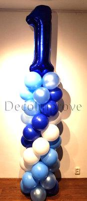 Ballonnenpilaar Standaard 1e Verjaardag Blauw 220cm Clusters van 4