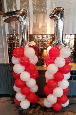 Ballonnenpilaar Standaard Rood Wit met Zilver Cijfer set van 2