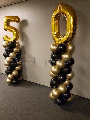 Ballonnenpilaar Standaard Chroom Goud Zwart met Goud Cijfer set van 2
