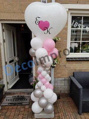 Ballonnenpilaar Deluxe Hart Top met Tweekleuren Bedrukking