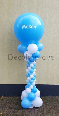 Ballonnenpilaar Deluxe Blauw met Wit met Persoonlijke bedrukking