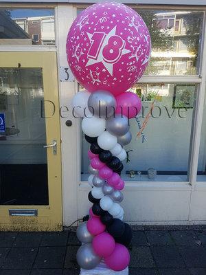 Ballonnenpilaar Deluxe Sweet 18 Hot Pink