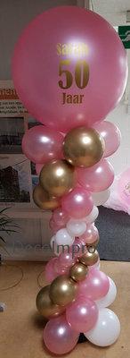 Ballonnenpilaar Deluxe Roze Wit en Chroom Goud met Persoonlijke Bedrukking