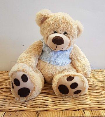 Teddybeer met Blauwe Trui Zittend Knuffel Beige Zacht 45cm Verhuur
