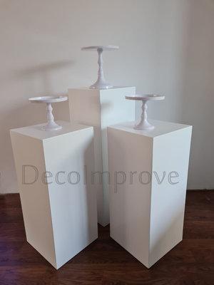 Vierkante Zuilen Wit Set Van 3 Verhuur