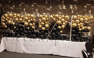 Chroom Goud met Zwart Letters Mozaiek Ballondecoratie Large