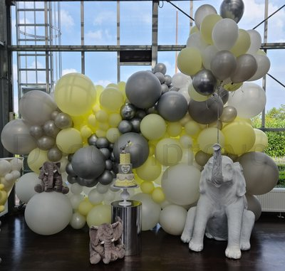 Pastel Geel en Zilver Organic Ballonnenwand