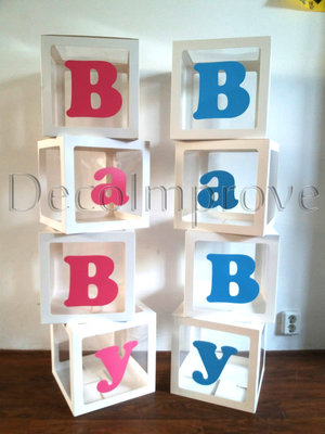 Blokkendozen Transparant 'BABY' set 4 stuks