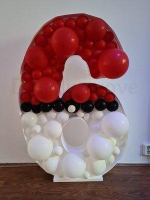 Pokeball '6' Cijfer Mozaiek Ballondecoratie
