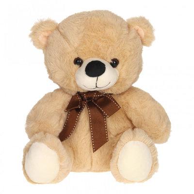 Teddybeer Zittend Knuffel Beige Zacht met Strik 25cm Verhuur