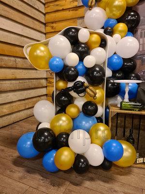 Zwart, Wit, Goud en Blauw '1' Cijfer Mozaiek Ballondecoratie Large