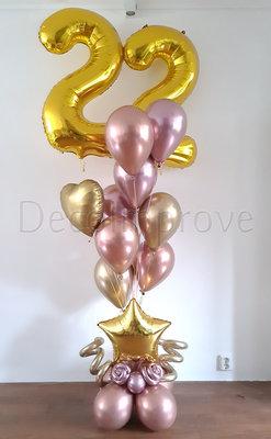 Chroom Goud en Rosegold Medium Collage 22 Jaar Helium Ballonnentros