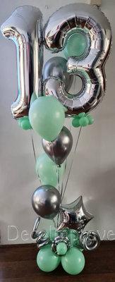 Zilver Pastel Groen Collage 13 Jaar Helium Ballonnentros