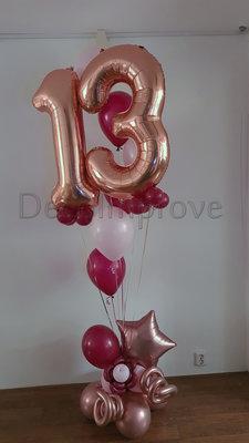RoseGold Maroon Collage 13 Jaar Helium Ballonnentros