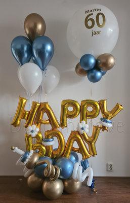 "Blauw, Goud, Wit ""Happy Birthday"" Collage Luxe Ballondecoratie"