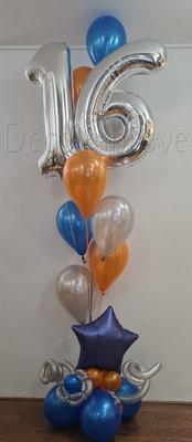 Metallic Oranje en Blauw Collage 16 Jaar Helium Ballondecoraties