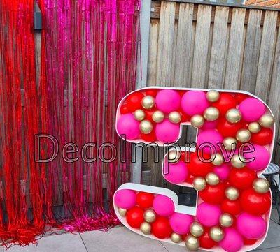 Rood, Fuchsia, Chroom Goud '3' Cijfer Mozaiek Ballondecoratie Large