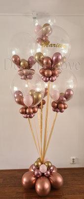 Chroom Rosegold, Chroom Roze, Pastel Roze Confetti Bubble Luxe Collage Helium Ballonnentros
