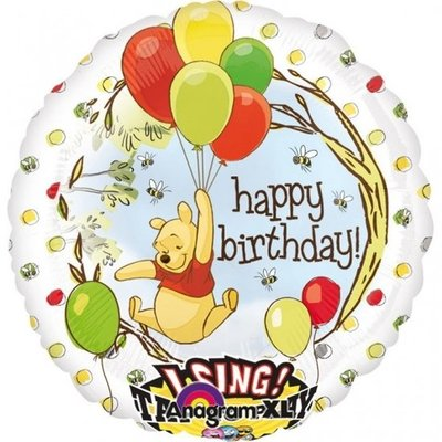 Winnie de Poeh 'Happy Birthday' Sing-A-Tune XL Folie Ballon 71cm