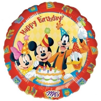 Ballonnenpost Mickey Mouse 'Happy Birthday' Folie Ballon 45cm
